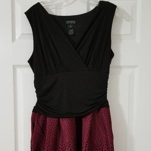 Size 14 Party Dress Black and Maroon Polka Dots
